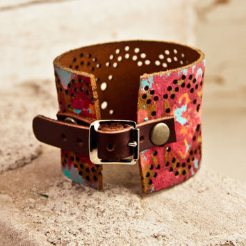 Leather Cuff Bracelet Boho Jewelry Rainwheel