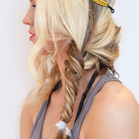 Summer Headband Boho Style Dandelion Yellow Stretchy Elastic Hairband