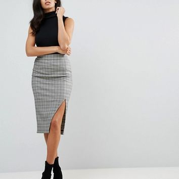 ASOS Tailored High Waist Pencil Skirt In Check With Split Detail at asos.com