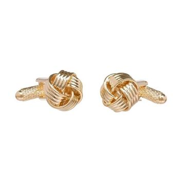 Knot Cufflinks for Men Shirt Cufflinks Silver Gold Color Plated Unique Fashion Business Wedding French Cuff