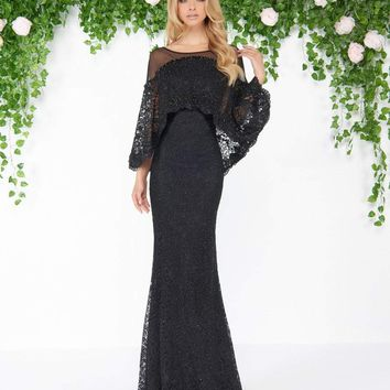 Mac Duggal - 20072D Illusion Lace Overlay Cape Gown