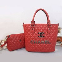 CHANEL Women Shopping Bag Leather Tote Handbag Shoulder Bag H