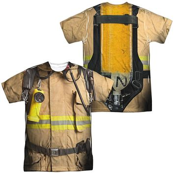 Firefighter Halloween Costume T-shirt Front & Back