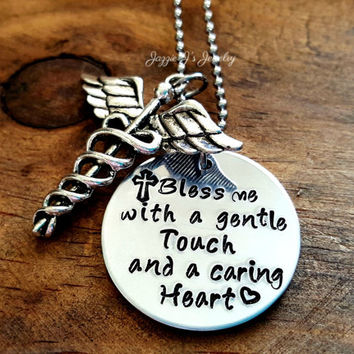 Nurses Prayer with Caduceus Charm, Bless me with a gentle touch and a caring heart Necklace, Medical Staff Appreciation, Nurse Gift