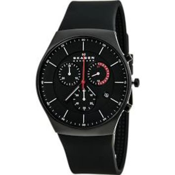 Skagen Black Dial Chronograph Silicone Mens Watch SKW6075