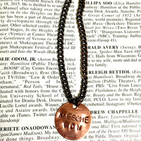 Hamilton The Musical Wait For It Bronze Stamped Necklace With Bronze Star Charm