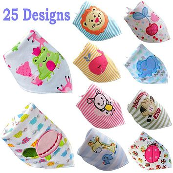 2 Layers Cute Animal Printed Baby Bibs Burp Cloths Baby Girl Boy Infant Saliva Towel Newborn Feeding