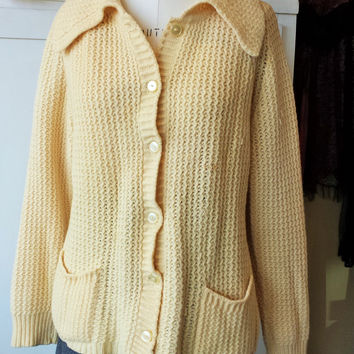 Vintage 1960s Yellow Cardigan Sweater with Pockets by Lerner Shops
