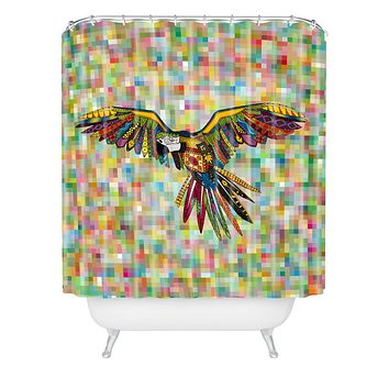 Sharon Turner Harlequin Parrot Shower Curtain