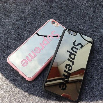 Fashion Luxury Supreme Sliver Mirror Case For Iphone 5 5s 6 6s 6Plus 6s Plus Chrome Ba