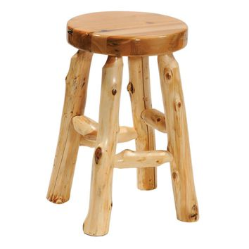"""Cedar Round Counter Stool Seat with Liquid Glass Finish - Height 24"""""""