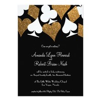 Destiny Las Vegas Wedding Invite Faux Gold Glitter
