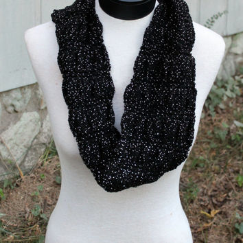 Hand Knit Scarf - infinity scarf, black with silver sparkle