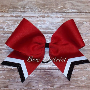 "3"" Red Team Cheer Bow with Black and White Tail Stripes"