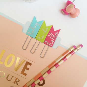 Glitter Paper Clips, Planner Jumbo Bookmark, Planner Accessories - Bright Colors