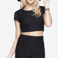 LACE CAP SLEEVE CROPPED TEE - BLACK from EXPRESS