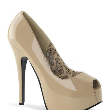 Bordello Cream Patent Peep Toe Slip On Platform Pumps