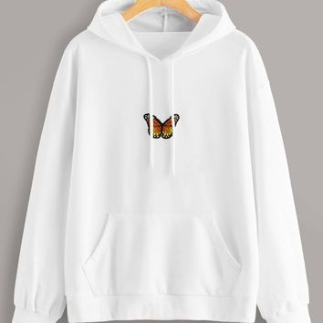 Butterfly Patched Drawstring Hooded Sweatshirt