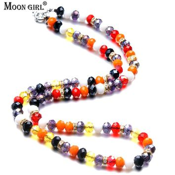 New Design Multicolor Crystal Beads Long Necklace