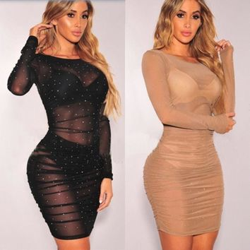 Long Sleeve Womens Sequins Mesh Bandage Bodycon Club Wear Dress Sexy See Through Party Mini Dress Hot Package Hip Dress