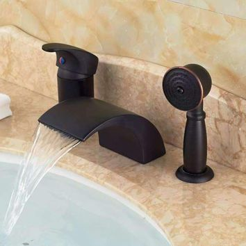 Modern Oil Rubbed Bronze Waterfall Spout Bathroom Tub Faucet Diverter Hand Shower Sprayer