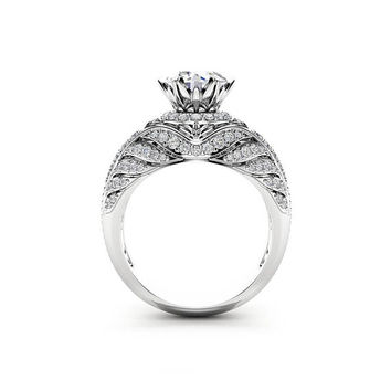 Custom Engagement Ring Unique Moissanite & Diamonds Ring 14K White Gold Halo Engagement Ring