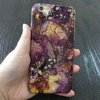 2017 Deep Purple, Gold and Black Marble design Phone Case For iPhone 7 7Plus 6 6s Plus 5 5s SE
