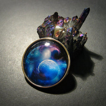 Dark Galaxy Planet Space Glass Dome Necklace, Boho, Hippie, Cosmos, Nebula, Bohemian, Universe,Purple, Blue, Choker,  Cosmic, Round, Circle