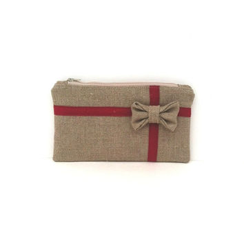 Christmas Gift Clutch - Bow Clutch - Holiday Gift Bag - Burlap Gift Bag - Holiday Clutch Bag