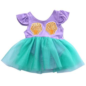 Infant Newborn Baby Girls Kids Mermaid Sequin Cotton Lace Tutu Tulle Mini Dress Party Wedding Pageant Ball Gown Dresses Sundress