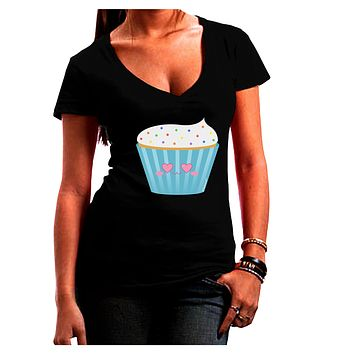 Cute Cupcake with Sprinkles - Heart Eyes Juniors V-Neck Dark T-Shirt by TooLoud