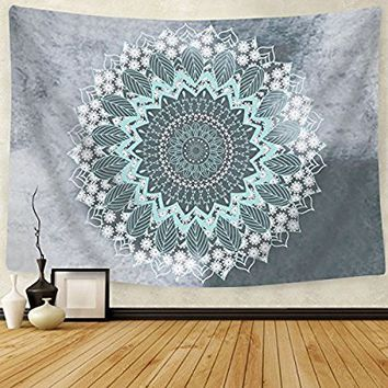 "Tapestry Mandala Hippie Bohemian Tapestries Wall Hanging Flower Psychedelic Tapestry Wall Hanging Indian Dorm Decor for Living Room Bedroom(51.2""×59.1"", Mandala Tapestry)"