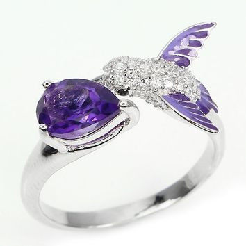 Brilliant 1.80CT Synthetic Amethyst & Diamond 925 sterling silver Hummingbird Jewelry Ring  Size 5 6 7 8 9 1011 12