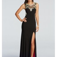 Illusion Low Back Prom Dress with Crystal Beading - Davids Bridal