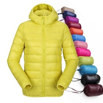 women ultra light down jacket hooded winter duck down jackets women slim long sleeve parka zipper coats 2016 pockets solid