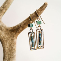 Tribal Beaded, Turquoise, Blue, Rustic, Rectangle, Geometric, Ethnic, Artisan, Copper, Bohemian, Boho