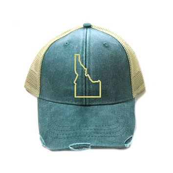 Idaho Hat - Distressed Snapback Trucker Hat - Idaho State Outline - Many Colors Available
