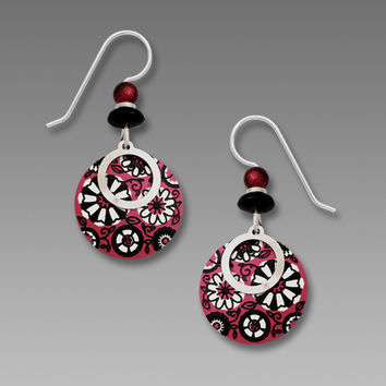 Adajio Earrings - Red and Cream Retro Floral Disc with Circle Overlay