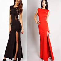 Lace & Knitting Patchwork Hollow Waist Slide Slit Long Dress