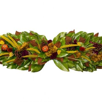 """Harvest Gold Aubergine and Chocolate Berries Dried and Preserved Magnolia Mantle / Table Centerpiece Arrangement (36"""")"""