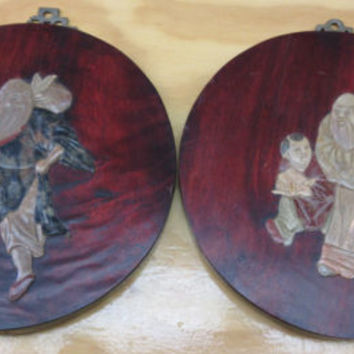 Antique Chinese Carved Hard Stone Jade Red Wood Plaque Jade Hanging Art Set