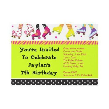 Roller Skating Invitation Happy Birthday Party from Zazzle.com