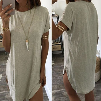 Women Summer Dresses  2017 Lady Casual O Neck Short Sleeve Asymmetric Hem Tshirt Dress Sexy Party Cl