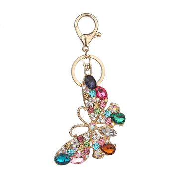 Butterfly Colored Rhinestone Key chain