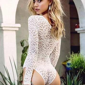 DCCKBA7 Strappy Lace Long Sleeve One Piece Swimsuit Swimwear