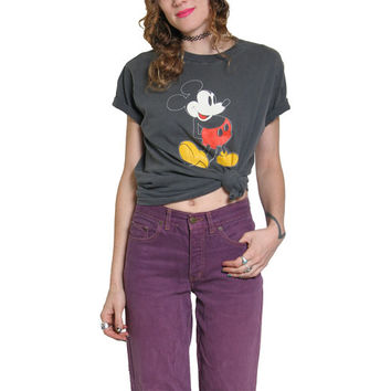 80s Vintage Mickey Mouse T Shirt - Thrashed - Disney - Grunge Goth - Mickey Shirt - Grey Black - Vintage Tee