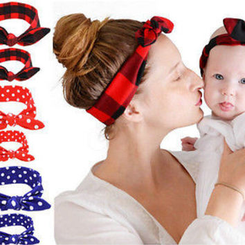 2PC/Set Mom-Baby Cotton Headbands Elastic Rabbit ear Hair Bands Accessories TB
