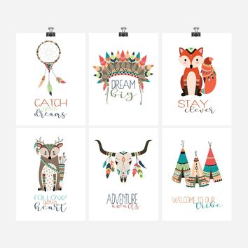 Tribal Woodland Nursery Prints - Boho Motivational Nursery Art Print Set of 6 - Multiple Sizes