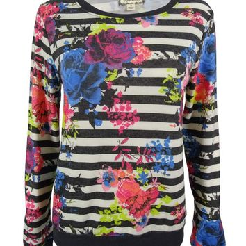Eyeshadow Juniors' Striped Floral Pullover Sweater