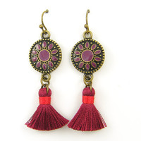 Boho Burgundy Purple Antique Brass Tassel Earrings